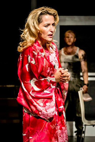 <p>Gillian Anderson as Blanche DuBois and Ben Foster as Stanley in <em>A Streetcar Named Desire</em> at the Young Vic. </p><br />© Johan Persson