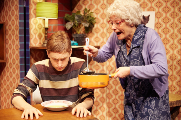 <p>Gilly Tompkins (Granny) &amp&#x3B; Ashley Cousins (Ben) in <em>Gangsta Granny</em></p><br />© Photo by Mark Douet