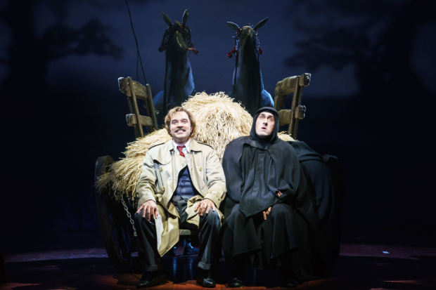 <p>Hadley Fraser (Dr Frederick Frankenstein) and Ross Noble (Igor) in <em>Young Frankenstein</em></p><br />© Manuel Harlan