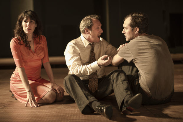 <p>Halina Reijn, Gijs Scholten van Aschat and Jude Law  in the Toneelgroep&#39&#x3B;s production of <em>Obsession</em> at the Barbican</p><br />© Jan Versweyveld