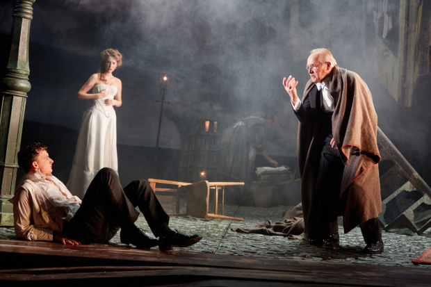 <p>Hamish Riddle, Carmela Corbett and Clive Francis   in <em>An Inspector Calls</em></p><br />©  Mark Douet