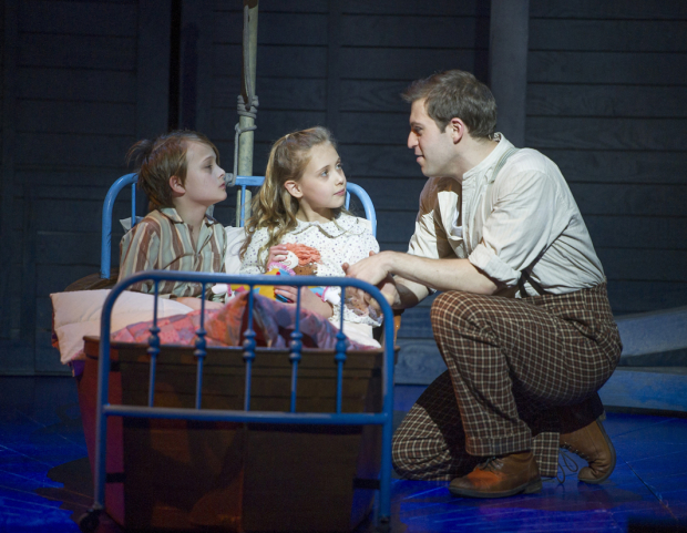 <p>Harry Grasby (Jeremy), Lucy Sherman (Jemima) and Jon Robyns (Caractacus Potts)</p><br />© Alastair Muir