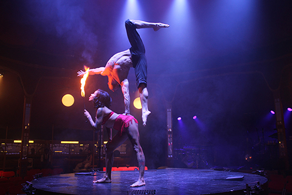 <p>Heather Holliday and Danik Abishev perform on stage in <em>Limbo</em></p><br />© Ben Hewis