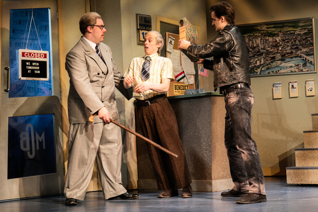<p>Henry Lewis (Robin Freeboys), Jonathan Sayer (Warren Slax) and Henry Shields (Mitch Ruscitti)</p><br />© Darren Bell