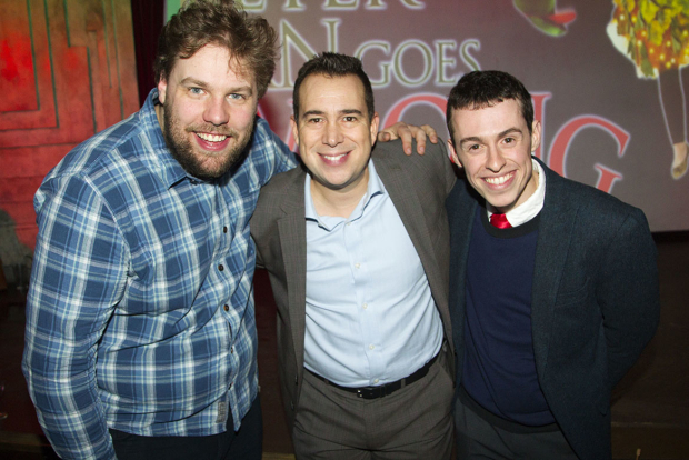 <p>Henry Shields, Kenny Wax and Jonathan Sayer at the press night for <em>Peter Pan Goes Wrong</em> at the Apollo Theatre</p><br />© Dan Wooller for WhatsOnStage