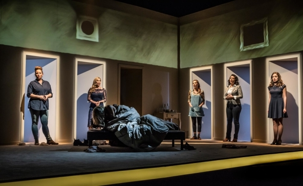 <p>Jacqueline Hughes, Anita Louise Combe, Kimberley Blake, Ashleigh Gray and Lisa Ann Wood in <em>Company</em></p><br />© Pamela Raith