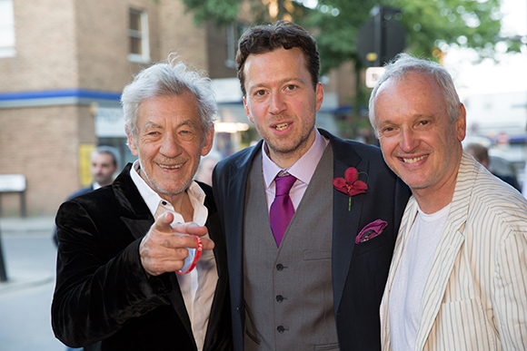 <p>Ian McKellan shows Jez Bond and Sean Mathias where the camera is</p><br />© Mark Douet