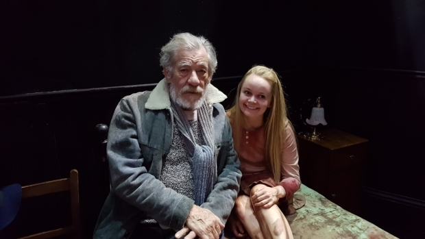 <p>Ian McKellen with <em>The Exorcist</em>  actor Clare Louise Connolly (Regan)</p>
