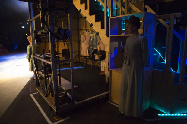 <p>Imelda Staunton (l) who plays Sally Durrant and Janie Dee (r) who plays Phyllis Rogers Stone waiting to go on stage</p><br />(c) Ellie Kurttz