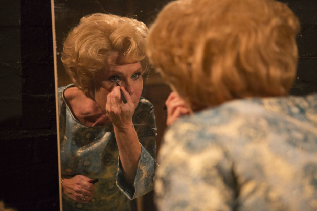 <p>Imelda Staunton who plays Sally Durrant reapplying her make-up backstage </p><br />(c) Ellie Kurttz