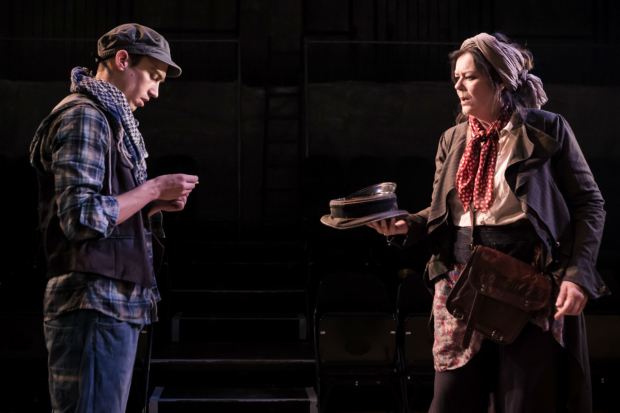 <p>Josie Lawrence and Jake Phillips Head in <em>Mother Courage and Her Children</em></p><br />(C) Scott Rylander