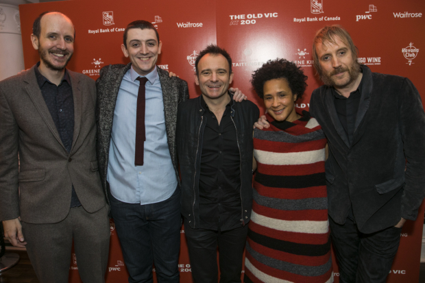 <p>Jack Thorne (adaptor), John Dagleish (Bob Crachit), Matthew Warchus (director), Golda Rosheuvel (Ghost of Christmas Present) and Rhys Ifans (Scrooge)</p><br />© Dan Wooller