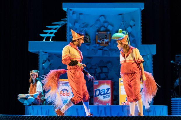 <p>Jade Croot (Kit), Greg Barnett (Mr Fox) and Lillie Flynn (Mrs Fox) in <em>Fantastic Mr Fox</em></p><br />© Manuel Harlan