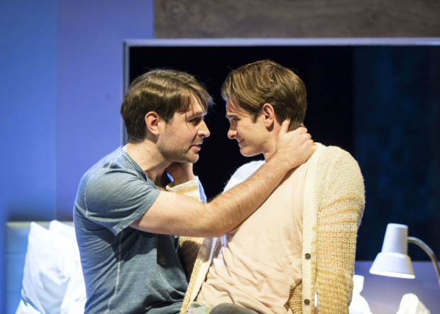 <p>James McArdle (Louis) and Andrew Garfield (Prior) in <em>Angels in America - Millennium Approaches</em></p><br />(c) Helen Maybanks