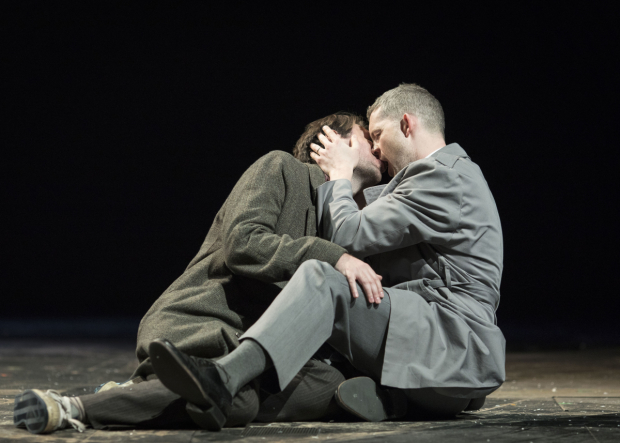 <p>James McArdle (Louis) and Russell Tovey (Joseph Pitt) in <em>Angels In America: Perestroika</em> </p><br />©  Helen Maybanks
