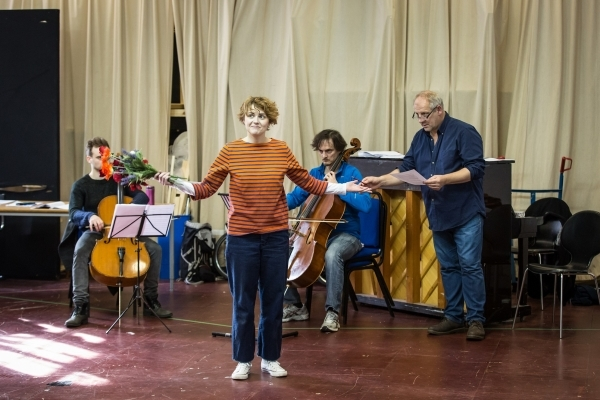 <p>Jamie Cameron, Katie West, Harry Napier and composer and musical director Simon Slater</p><br />© Marc Brenner