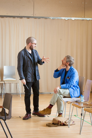 <p>Jamie Lloyd and Martin Freeman</p><br />© Marc Brenner