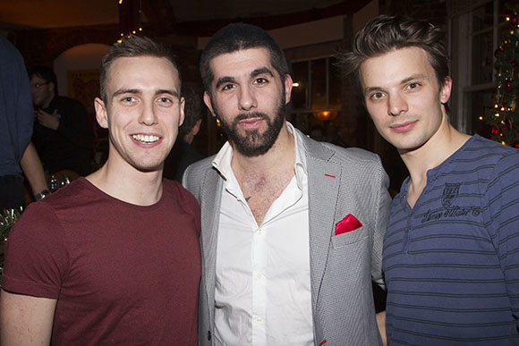 <p>Jamie Muscato, Simon Lipkin (The Proprietor) and Richard Southgate</p><br />© Dan Wooller for WhatsOnStage