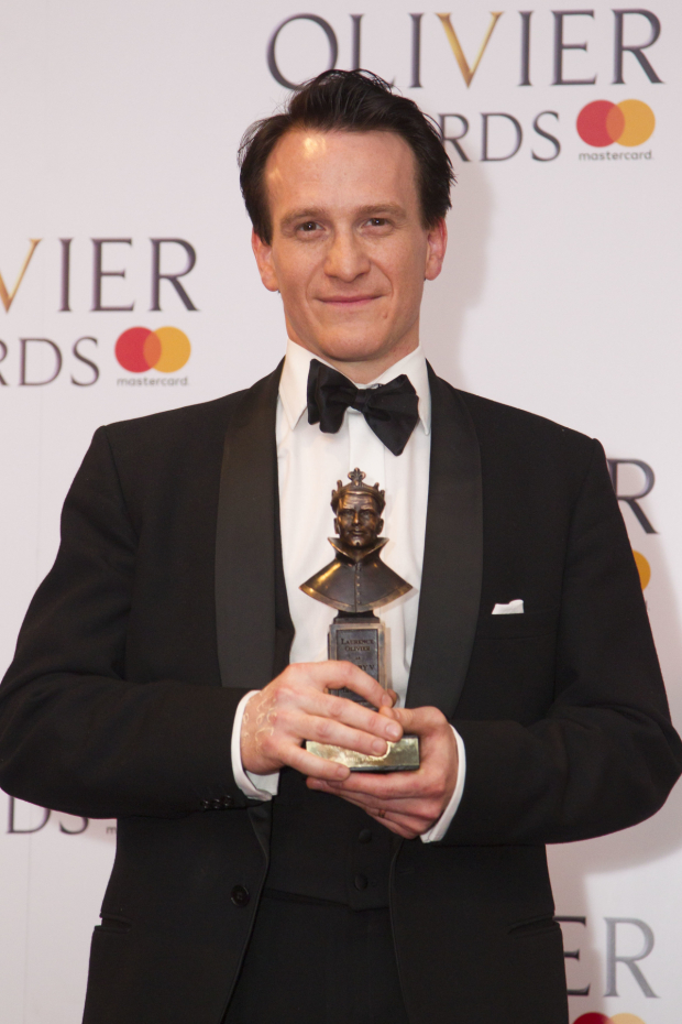 <p>Jamie Parker with the award for Best Actor for <em>Harry Potter and the Cursed Child</em> at Palace Theatre</p><br />© Dan Wooller for WhatsOnStage