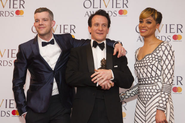 <p>Jamie Parker with the award for Best Actor for <em>Harry Potter and the Cursed Child</em> at Palace Theatre,  presented by Russell Tovey and Cush Jumbo</p><br />© Dan Wooller for WhatsOnStage