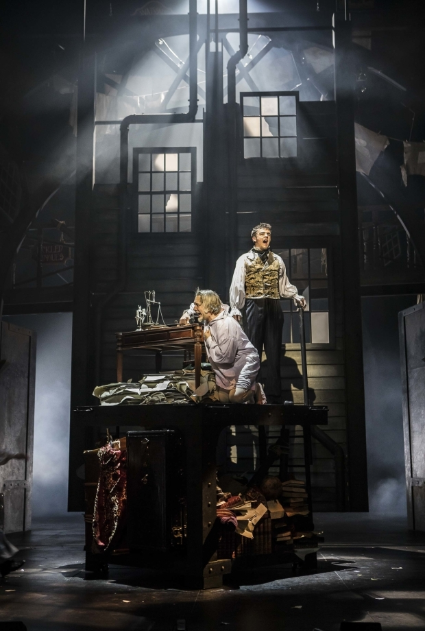 <p>Jasper Britton as Ebenezer Scrooge and Nathanael Landskroner as Young Ebenezer</p><br />© Pamela Raith
