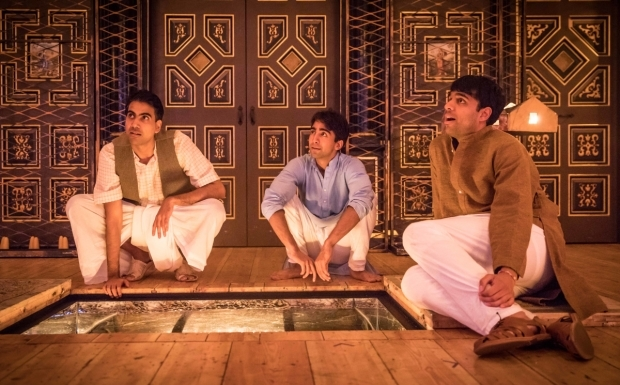 <p>Jaz Deol, Shubham Saraf and Raj Bajaj in <em>Lions and Tigers</em></p><br />© Marc Brenner