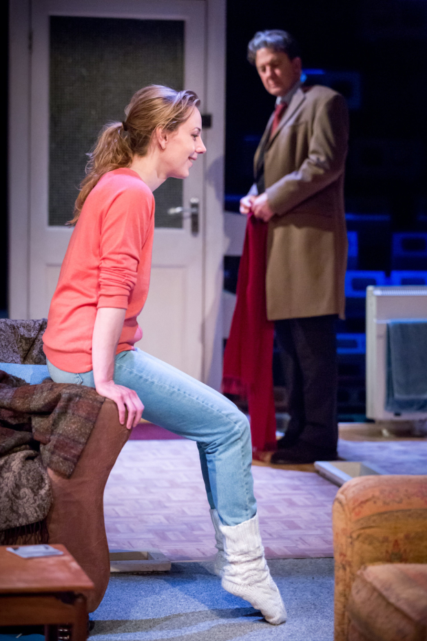 <p>Jeany Spark (Kyra) and Jay Villiers (Tom)  in <em>Skylight</em></p><br />© Mark Carline
