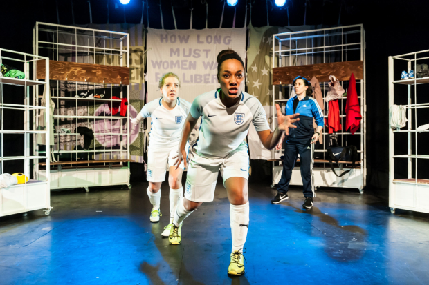 <p>Jessica Butcher, Tanya Loretta-Dee  and Daphne Kouma in <em>Offside</em></p>