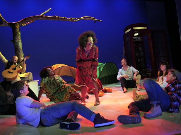 <p>Jessica Hayles (Rosalind) and the cast of <em>As You Like It</em></p><br />© Keith Pattison
