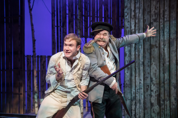 <p>Joe Bannister (Sergey) and Howard Ward (Colonel Triletzky) in <em>Wild Honey </em></p><br />© Johan Persson