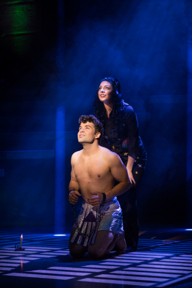 <p>Joe McElderry as Joseph and Lucy Kay as The Narrator</p><br />© Mark Yeoman