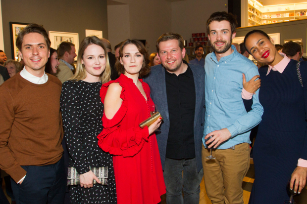 <p>Joe Thomas, Kimberley Nixon, Charlotte Ritchie (Celia), Greg Mchugh, Jack Whitehall and Zawe Ashton</p><br />© Dan Wooller for WhatsOnStage