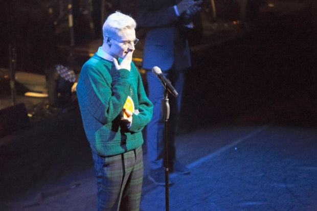 <p>John McCrea picking up the Best Actor in a Musical award</p><br />© Peter Gibbons