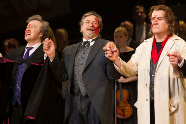 <p>John Owen-Jones (Pirelli), Philip Quast (Judge Turpin) and Bryn Terfel (Sweeney Todd)</p><br />Dan Wooller