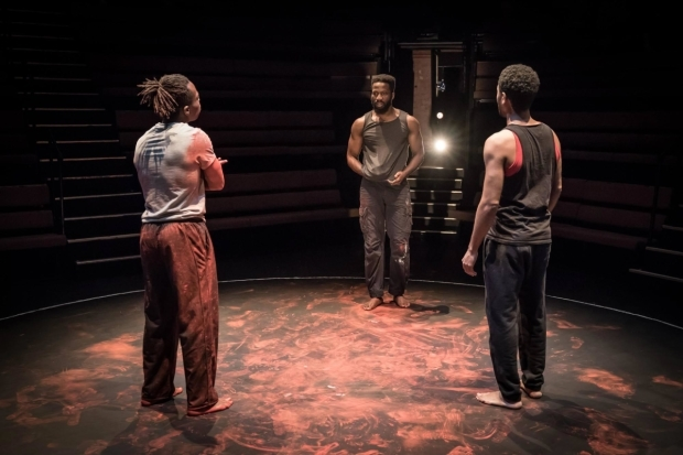 <p>Jonathan Ajayi, Sope Dirisu and Anthony Welsh in <em>The Brothers Size</em></p><br />©  Marc Brenner