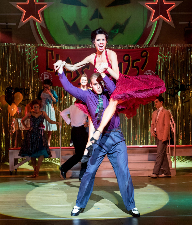 <p>Jonny Fines as Kenickie and Djalenga Scott as Betty Rizzo in <em>Grease</em> </p><br />© Manuel Harlan