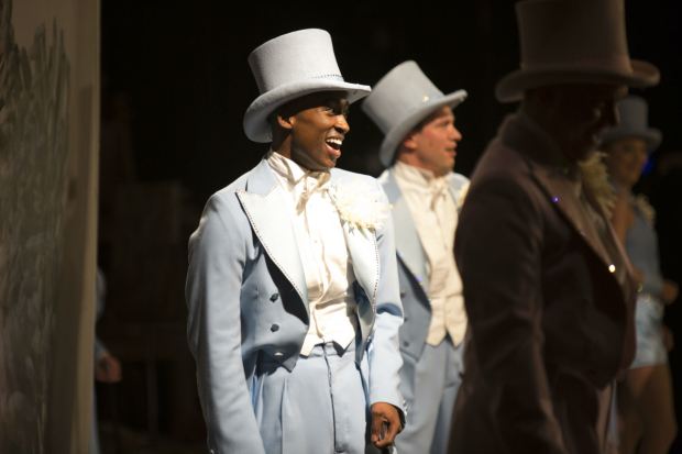 <p>Jordan Shaw who plays Kevin and is also part of the chorus pictured from the side of the stage</p><br />(c) Ellie Kurttz