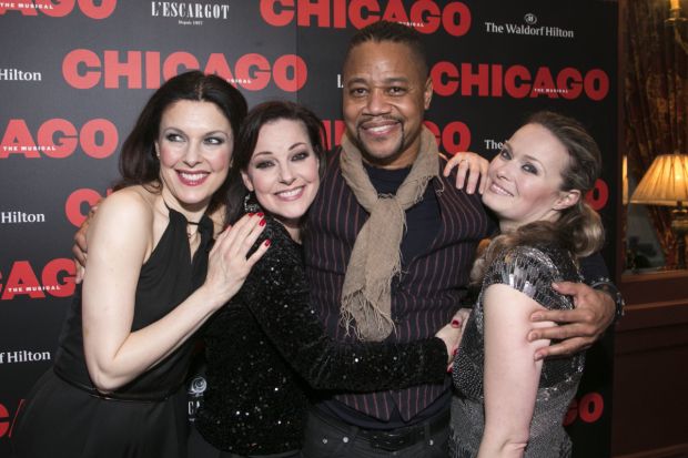 <p>Josefina Gabrielle (Velma Kelly), Ruthie Henshall (Mama Morton), Sarah Soetaert (Roxie Hart) and Cuba Gooding Jr (Billy Flynn)</p><br />© Dan Wooller for WhatsOnStage