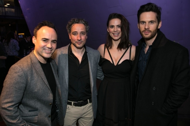 <p>Joseph Balderrama (Jeff), Aidan Mcardle (Rick), Hayley Atwell (Jenny) and Tom Riley (Seth)</p><br />© Dan Wooller for WhatsOnStage