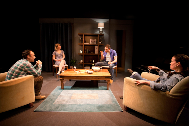 <p>Joseph Balderrama, Rose Reynolds, Tom McKay and Anne Adams in <em>Drones, Baby, Drones</em></p><br />© Simon Annand