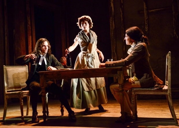 <p>Joseph Timms (Sydney Carton), Rebecca Birch (Seamstress) and Jacob Ifan (Charles Darnay) in <em>A Tale of Two Cities</em></p><br />© Robert Day