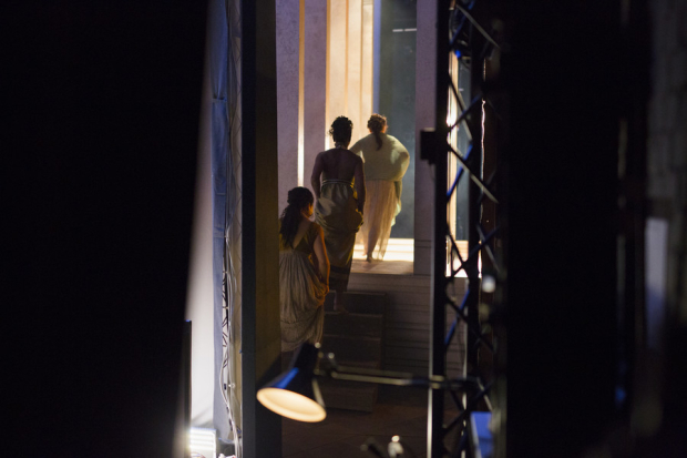 <p>Josette Simon, playing Cleopatra walks on stage with her ladies in waiting</p><br />© Andrew Fox