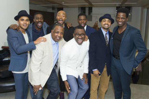 <p>Josh Williams (Jamaal), David Ajala (Jim Brown), Kemp Powers (author), Arinze Kene (Sam Cooke), Kwame Kwei-Armah (director), Dwane Walcott (Kareem), Francois Battiste (Malcolm X) and Sope Dirisu (Cassius Clay)</p><br />© Dan Wooller for WhatsOnStage �