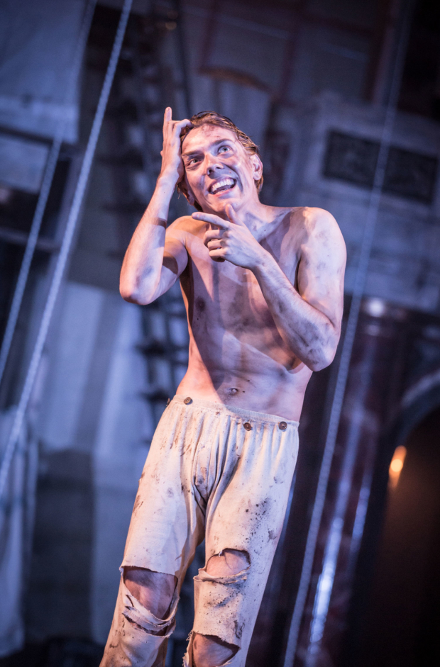 <p>Joshua James as Edgar in <em>King Lear</em></p><br />© Marc Brenner