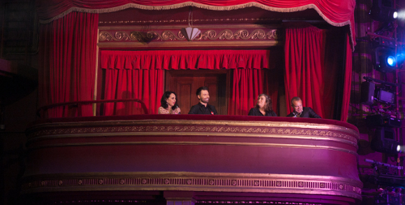 <p>Judges Leslie Joseph, Rylan, Caroline Quentin and Graham Norton enjoy the show</p><br />© Darren Bell
