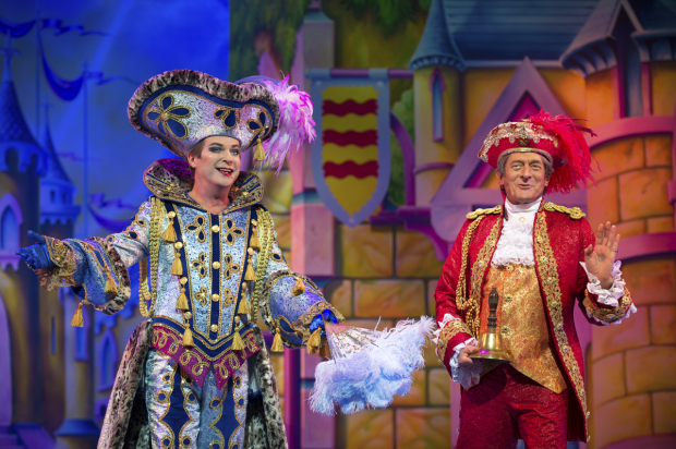 <p>Julian Clary (Dandini) and Nigel Havers (Lord Chamberlain)</p><br />© Paul Coltas & Steve Williams