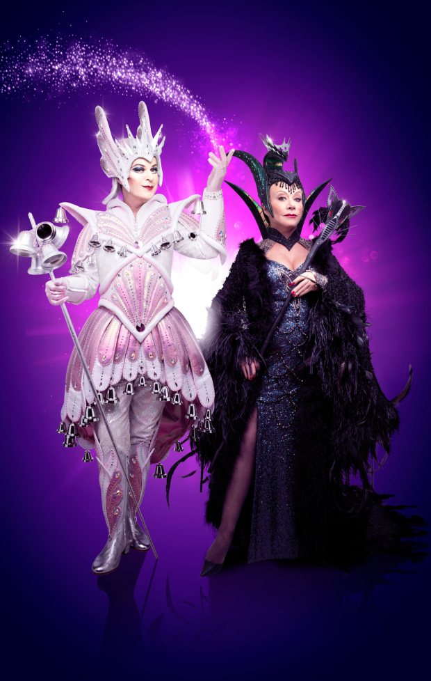 <p>Julian Clary as Spirit of the Bells as and Elaine Paige as Queen Rat</p>