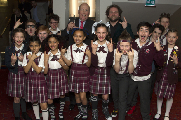 <p>Julian Fellowes, Gary Trainor and the cast of <em>School of Rock</em> accept the award for Best New Musical</p><br />© All images are copyright Dan Wooller, 2017