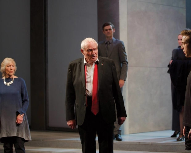 <p>Julian Glover (centre) in <em>Julius Caesar</em></p><br />Simon Purse