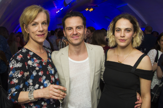 <p>Juliet Stevenson (Gertrude), Andrew Scott (Hamlet) and Jessica Brown Findlay (Ophelia)</p><br />© Dan Wooller for WhatsOnStage
